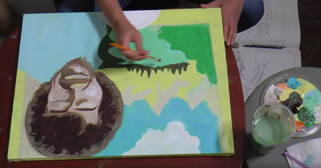 Sara Barcus paints Bob Ross